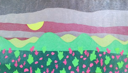Pink and Green Landscape