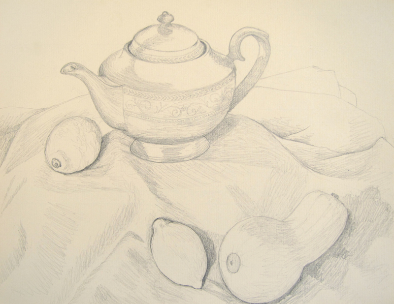 Still Life with Teapot, Lemons, and Squash drawing by Cathy Durso