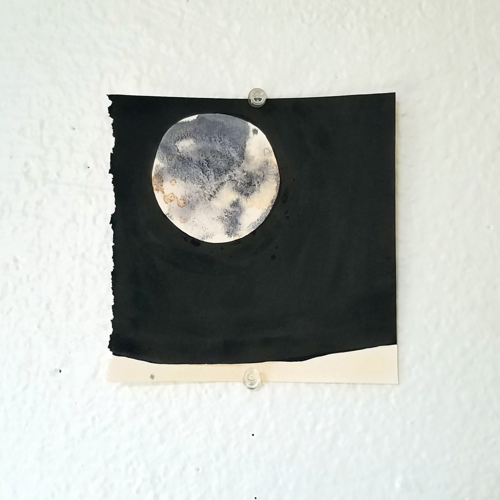 onion skin ink and India ink moon drawing by Cathy Durso