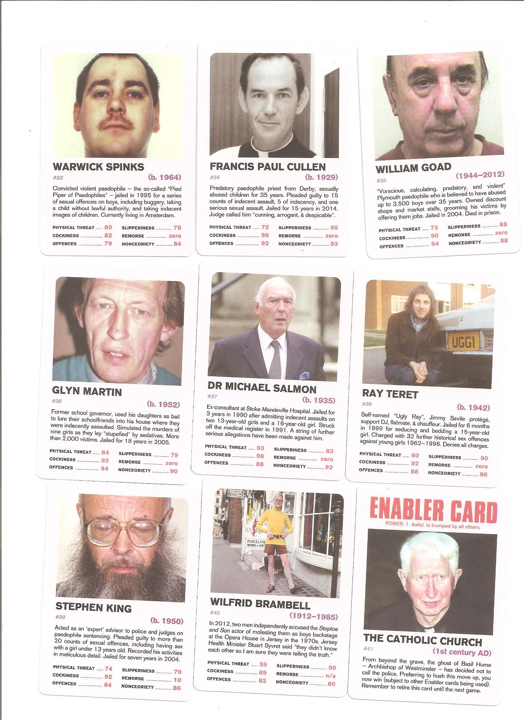 Top Trumps  British Nonces  cathy fox blog on child abuse