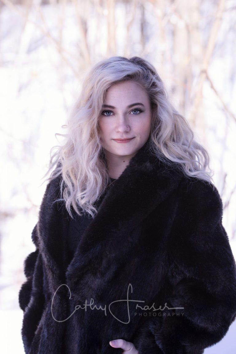 young woman, professional winter portraits, blonde, Penn Yan, NY,