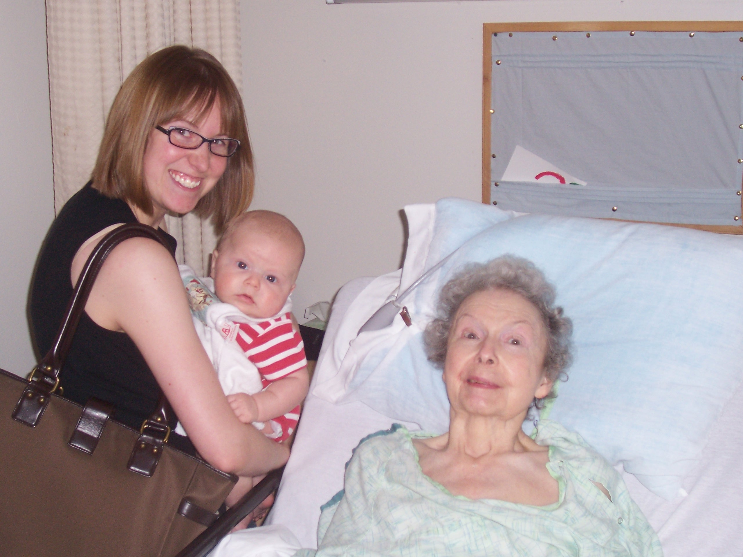 We took my grandson to see his great-grandmother in her nursing home -- her first great-grandchild. I think she got a kick out of him!