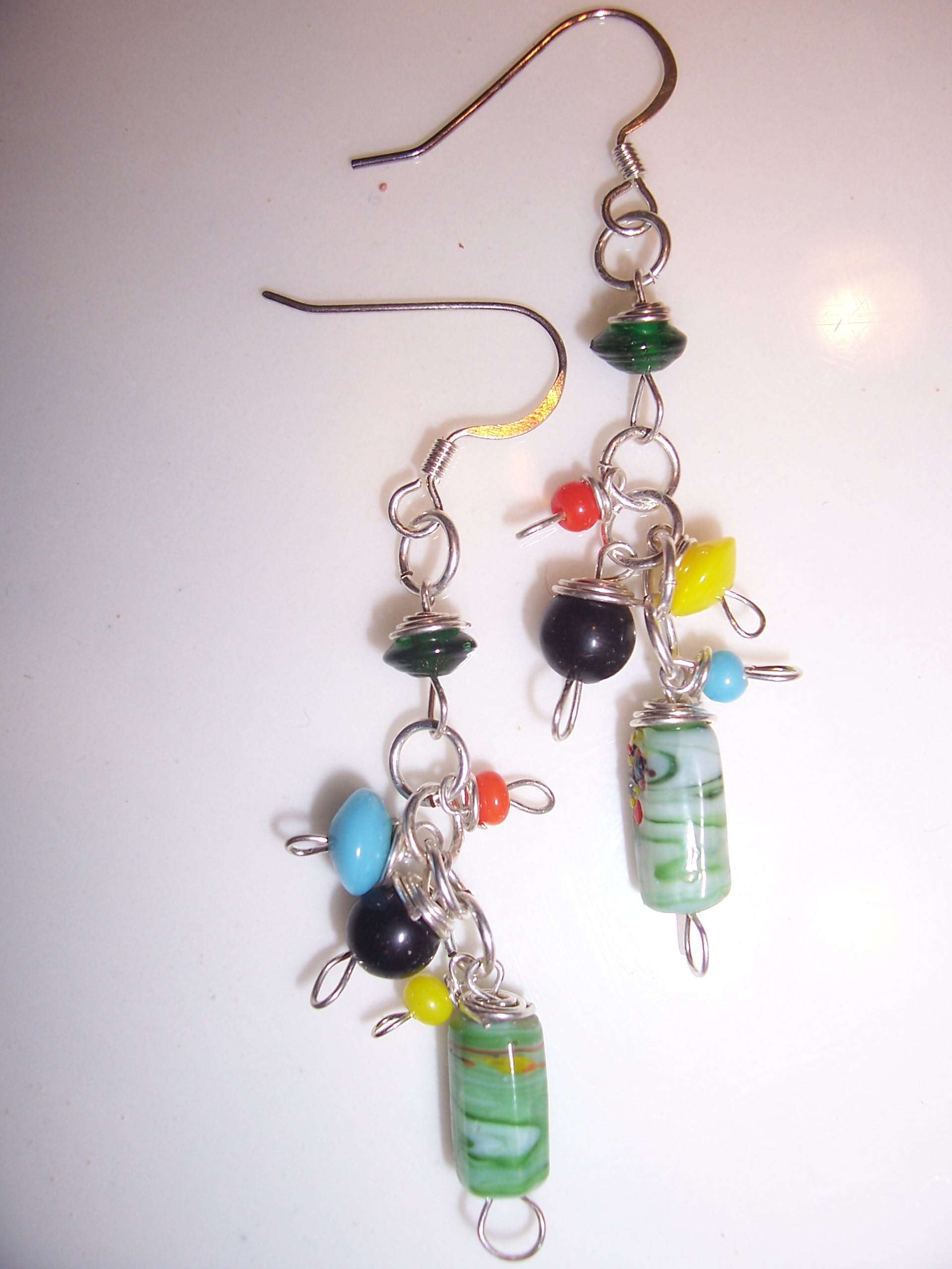 Pair No. 5 -- my favorites -- love the green patterned glass bead at the bottom