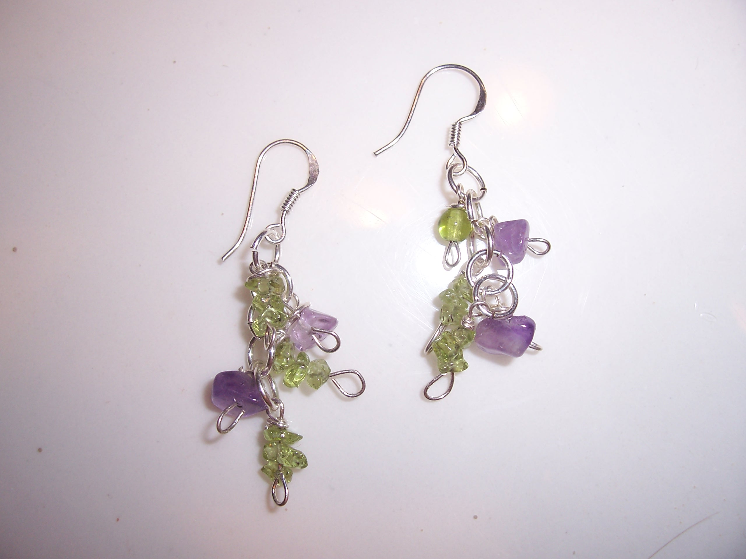 Pair No. 8 -- icy lavender and green drops
