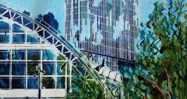 And early painting of Manchester including Central Station andvand Beetham Tower ©2011 Cathy Read Art- Vertical Aspirations-38 x 28cm - Mixed Media