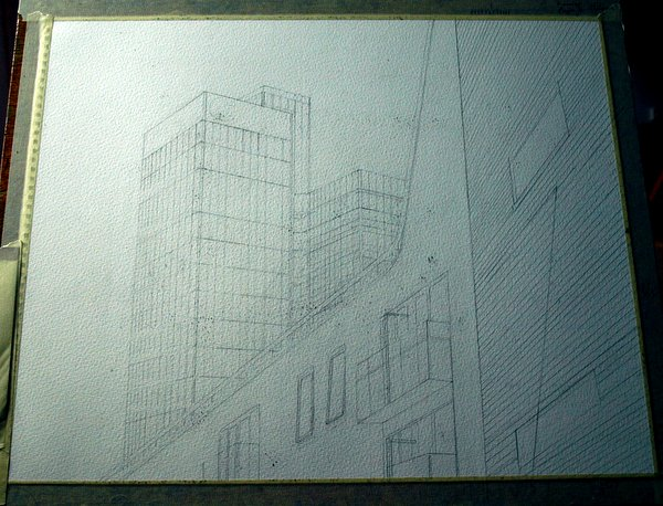 ©2012 - Cathy Read - Work in Progress CIS Tower - Pencil - 50 x 40 cm
