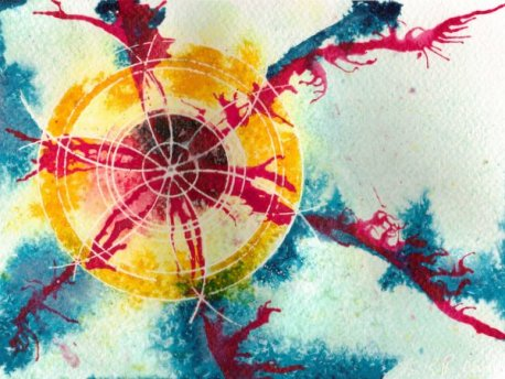 ©2012-Cathy Read - Sun Flower -19.5x14.6cm - Mixed media