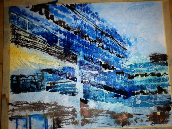 ©2012 - Cathy Read - Work in Progress MK Station- Mixed Media - 40x50cm