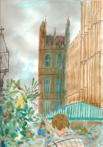 ©2012- Cathy Read Art - Sketch of Parliament Terrace - Pen and Watercolour - A4