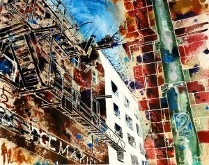 Painting of Fire Escape in Northern Quarter in ManchesterFire Escapes - ©2012 - Cathy-Read- watercolour andy acrylic ink-40x50cm - £570