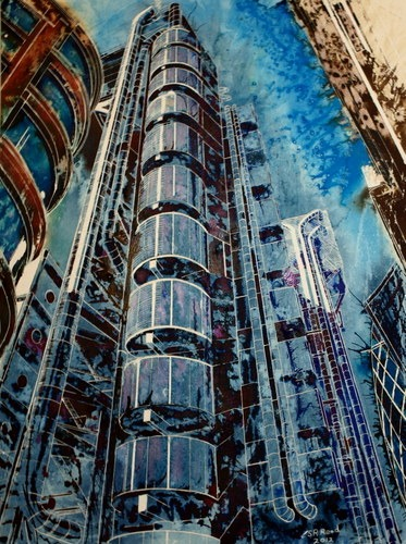 #LloydsBuildingPainting #Painting of the Lloyds Building©2012 - Cathy Read - The Lloyds Building - Mixed media-75x55cm