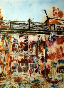 ©2013 - Cathy Read - Dirty Old Mill- Watercolour and acrylic ink - 75 x 55 cm SOLD