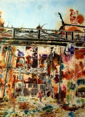 ©2013 - Cathy Read - Dirty Old Mill - Watercolour and acrylic ink - 75 x 55 cm - SOLD