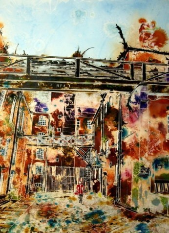 ©2013 - Cathy Read - Dirty Old Mill - Watercolour and acrylic ink - 75 x 55 cm