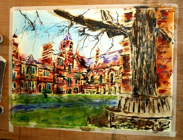 ©2013 - Cathy Read - Keble College Work in Progress- Watercolour and Acrylic- 55 x 75 cm