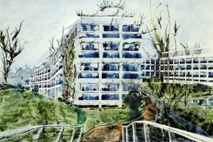 Wolfson College, Oxford - View from Rainbow Bridge ©2013 - Cathy Read - - Watercolour and Acrylic- 75 x 55 cm