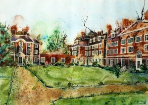 Painting of Lady Margaret Hall, Oxford - Toynbee and Deneke West ©2013 - Cathy Read - Watercolour and Acrylic - 55x75cm £1200