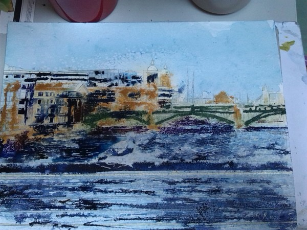 ©2014 - Cathy Read - Work in Progress - Watercolour and Acrylic - 30.5x40.5 cm