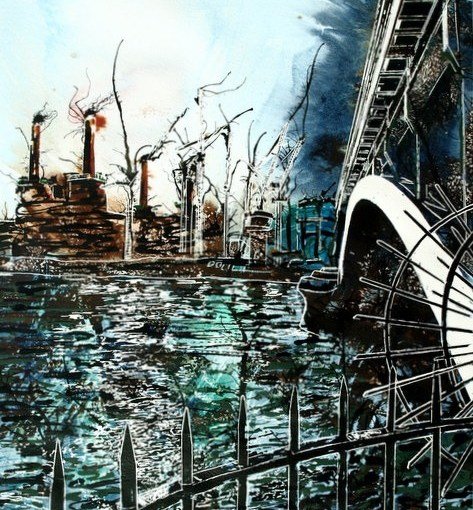 ©2014 - Cathy Read - Battersea under Chelsea Bridge- Watercolour and Acrylic - 40 x 50 cm