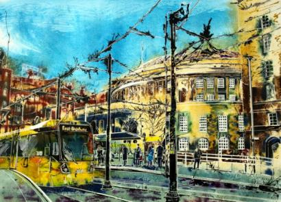 ©2015 - Cathy Read - Stopping at Central Library - Watercolour and Acrylic -55 x 75 cm - £900