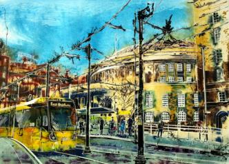 ©2015 - Cathy Read - Stopping at Central Library - Watercolour and Acrylic -55 x 75 cm - SOLD