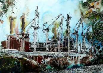 London architecture ©2015 - Cathy Read - Battersea Reborn- Watercolour and Acrylic - 55 x 75 cm