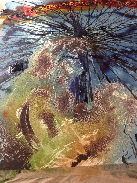 ©2015 - Cathy Read -Lonond Eye painting detail 1 - Watercolour and Acrylic - 75 x 56 cm 600