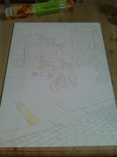 ©2015 - Cathy Read - Bobbies on Bicycles - Masking complete - 61x45 cm