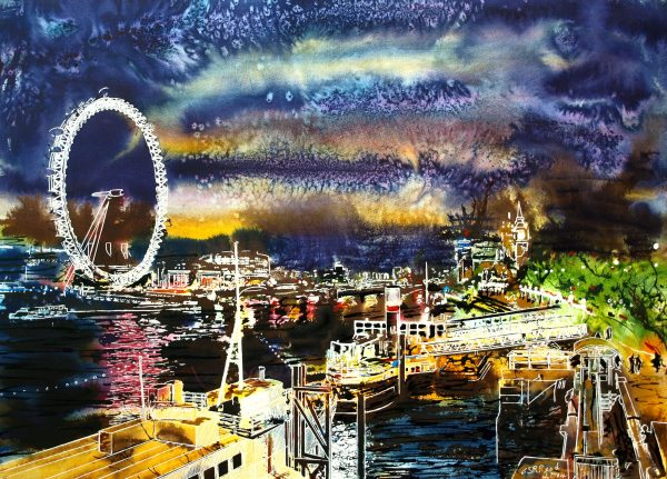 Painting of the Thames at night with boats, London Eye and Houses of Parliament showing Big Ben©2014 - Cathy Read - Goodnight Thames - Watercolour and Acrylic - 54x74 cm ££1235 framed
