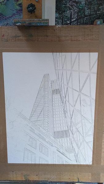 ©2016 - Cathy Read - Lean on Me Work in progress - Pencil sketch - 50 x 40 cm 600