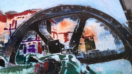 ©2016 - Cathy Read - Crossley Engine - Watercolour and Acrylic -