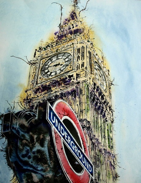©2016 - Cathy Read - London Icons Watercolour, acrylic ink and gold leaf - 75 x 55 cm -£1300