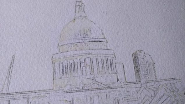 ©2016 Cathy Read - People Crossing the Millenium Bridge Working title -50.1 x 67.2cm HR Work in progress St Pauls detail pencil