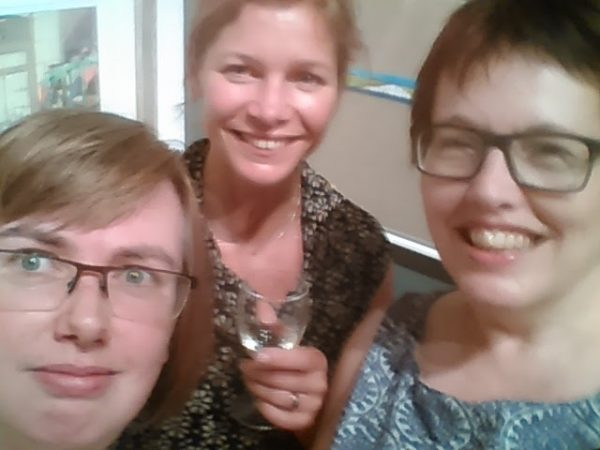 ©2016-Cathy-Read- Society of Women Artists Summer Exhibition Charity evening Selfie with Hazel Reeves and Orsi Cowell-Lehoczky- Digital Image