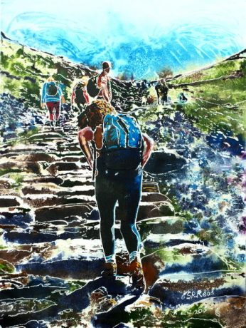 ©2015-Cathy-Read-Pilgrims-A-Journey-of-a-Thousand-Miles-Begins-with-One-Step-Watercolour-and-Acrylic-61x46-cm