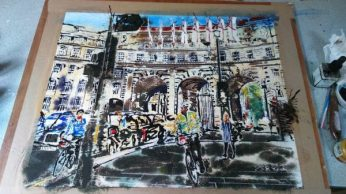 ©2016 - Cathy Read - Admiralty Arch - Watercolour and Acrylic- 40 x 50 cm Nearly Finished or am I