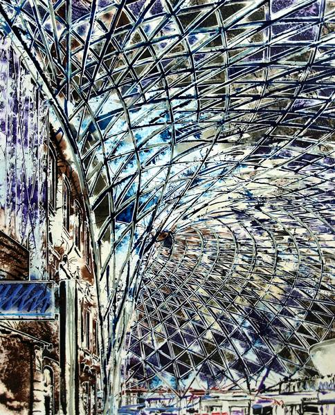 Kings cross painting ©2016 - Cathy Read - Kings Cross detail work in progress - Graphie - 40 x 50 cm