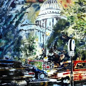 ©2017-Cathy-Read-St-Pauls-at-Night-Watercolour-and-Acrylic-55-x-75cm