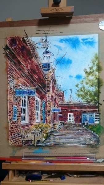 ©2017 - Cathy Read -Claydon House Courtyard Clocktower - Watercolour and Acrylic ink - 40 x 50 cm