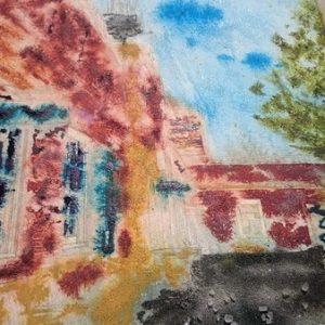 ©2017 - Cathy Read -Claydon House Courtyard ClocktowerWIP 1- watercolour and Acrylic- 40 x 50 cm 600