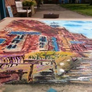 ©2017 - Cathy Read -Claydon House Courtyard ClocktowerWIP long view - watercolour and Acrylic- 40 x 50 cm 600