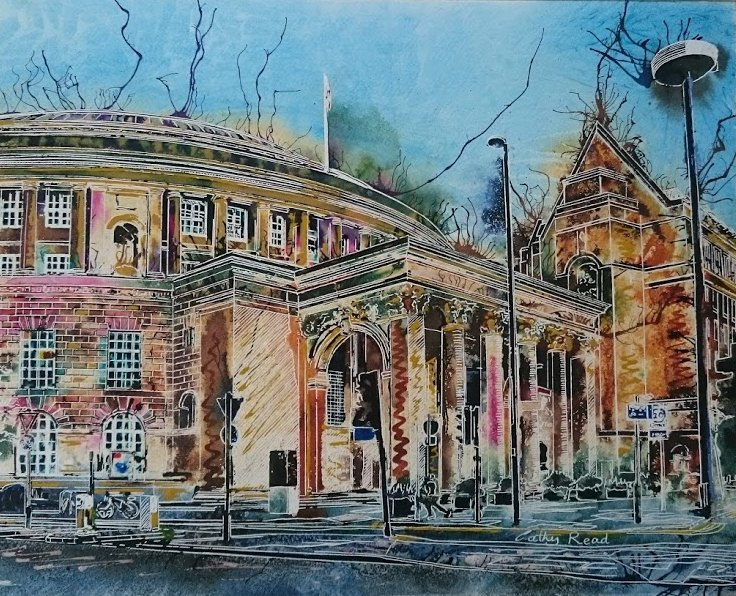 Painting of Manchester-Central-Library-watecolour-and-acrylic-ink