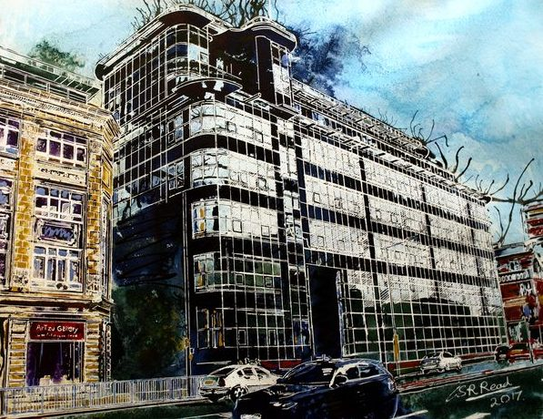 Painting of Great Ancoats Street and Daily Express Buiding in Manchester by Cathy Read- SOLD