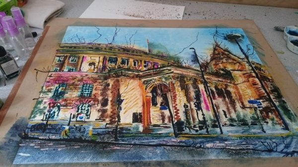 ©2017 - Cathy Read - Manchester Central Library - watecolour and acrylic ink - WIP3