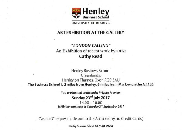 PV invite for London Calling by Cathy Read @Henley Business School