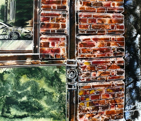 ©2017-Cathy-Read-Reflected-Glory Painting of brickwork and window reflecting a car in watercolour-and-Acrylic-on-paper-40-x-50-cm