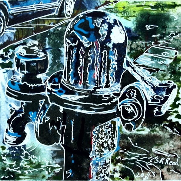 painting of a village waterpump by Cathy Read - 5 Pump - Cathy Read - ©2018 -  Watercolour and Acrylic - 17.8x17.8cm - £154
