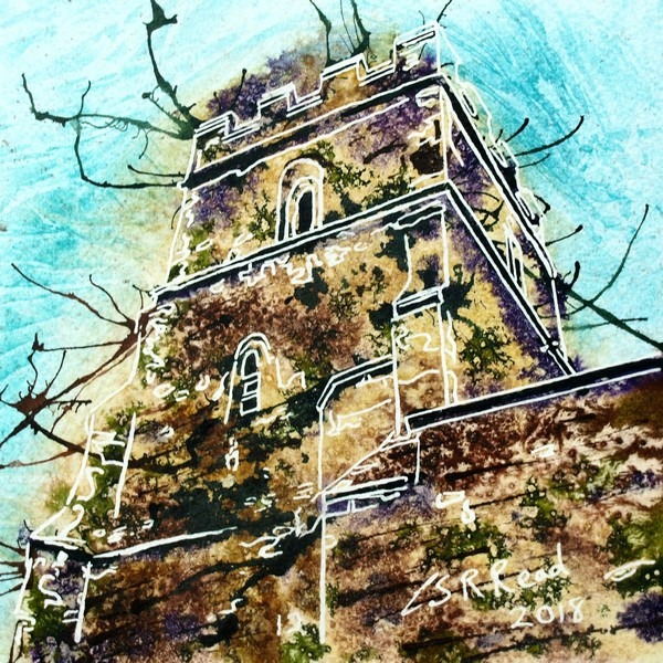 Painting of stonework of Radclive church tower