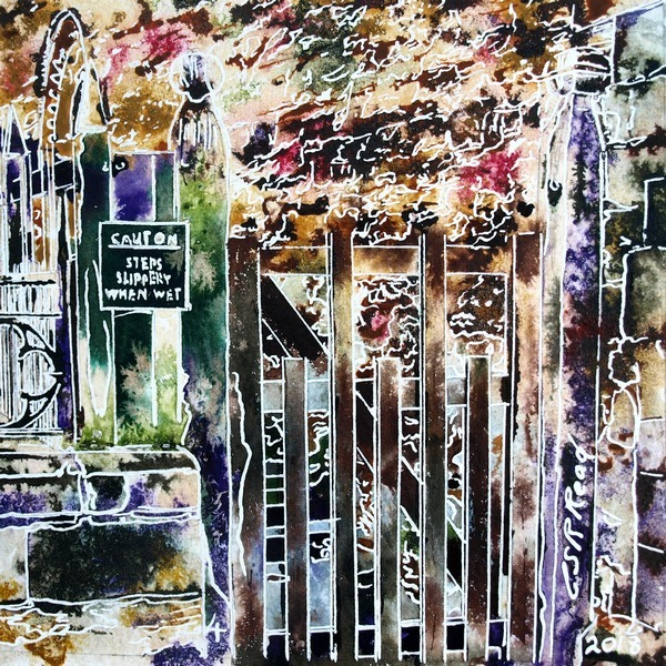 ©2018 - Cathy Read - 4 gate - Watercolour and Acrylic - 17.8x17.8cm Painting of a wooden gate that leads to Chantry Chapel in Buckingham set against an old stone wall