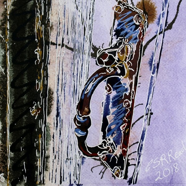 Painting of an old door handle with latch that appears to be nuts or bolts Cottage Latch ©2018 - Cathy Read - 8 of 4950 Series - Watercolour-and-Acrylic-17.8x17.8cm - £154